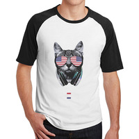 Cat USA Patriotic Flag Glasses Independence Day Tshirts Printed Mens Guys Cool 3 4 Sleeve Raglan