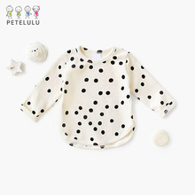 Petelulu Cotton Baby T-shirts For Girls Tops Polka Dot Long Sleeve Kids Tops Toddler T Shirt Baby Boy Girls Clothes