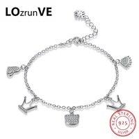 LOZRUNVE Originele Vrouwen Gloednieuwe 2018 Mode-sieraden S925 puur zilveren kroon hart kleine hanger karakter chain groothandel