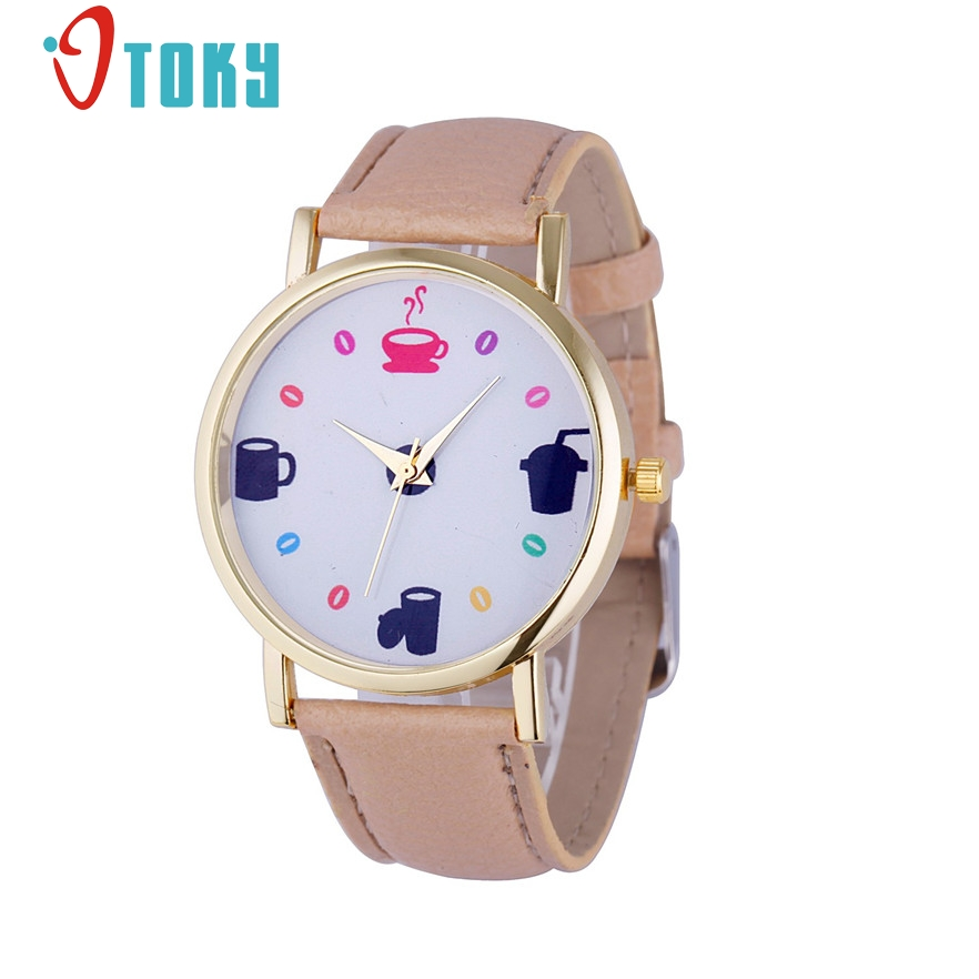 OTOKY Women Watches Cup pattern Leather Stainless Steel Dress Quartz Analog Wrist Watch for women Relogio Feminino 2017 #20 Gift creative new coin pattern design women watch leather band analog quartz vogue wrist watches relogio feminino female clock time
