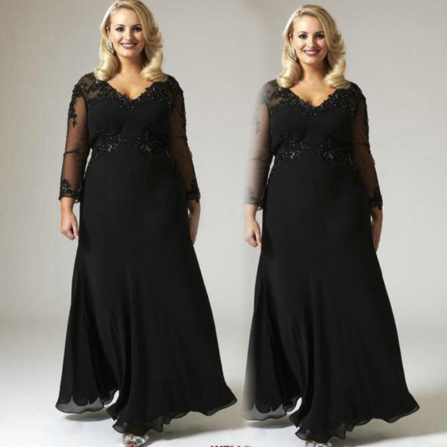 2016 Mother Of The Bride Dresses For Plus Size Black A Line Chiffon
