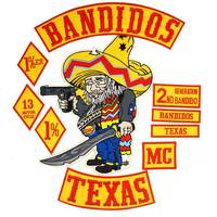 BANDIDOS TEXAS MC Patch BACKING Embroidered punk biker Patches Clothes Stickers Apparel Accessories Badge 10 PCS/LOT