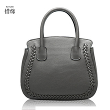 Large 100% cowhide Women GENUINE LEATHER Shoulder bag First layer leather Handbag tote girls Fashion crossbody bags red/gray