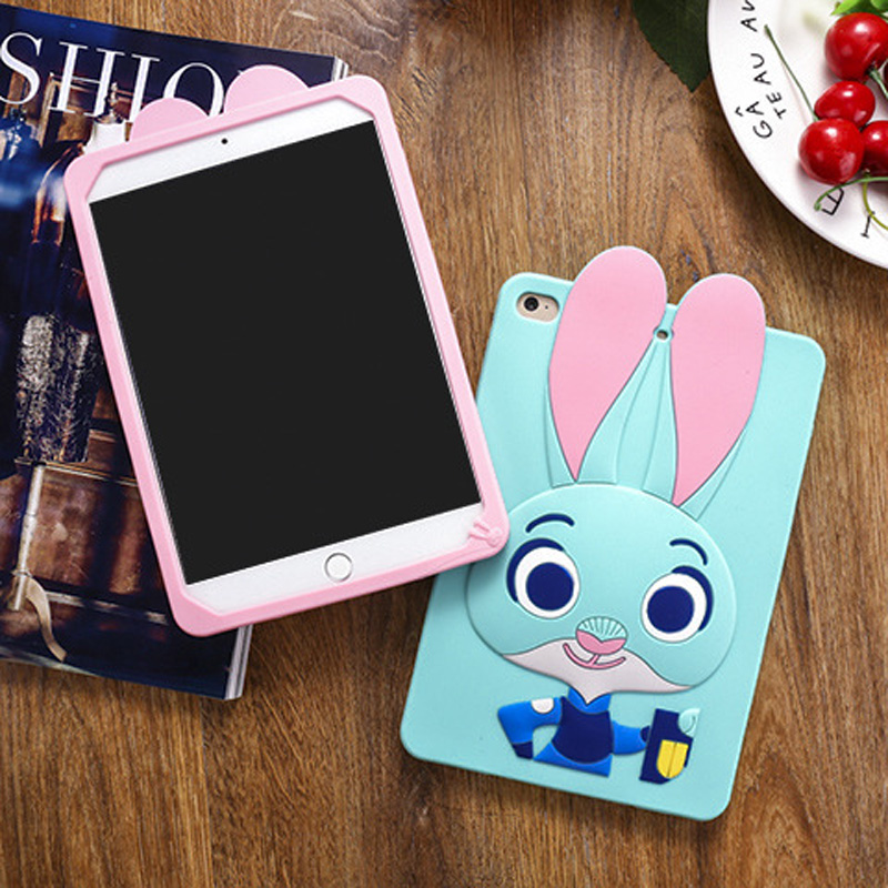 Tablet Case For ipad 2017 9.7 inch Cute Cartoon Rabbit Kids Shockproof Silicone Rubber Stand Back Cover For ipad 2018 Case  (10)