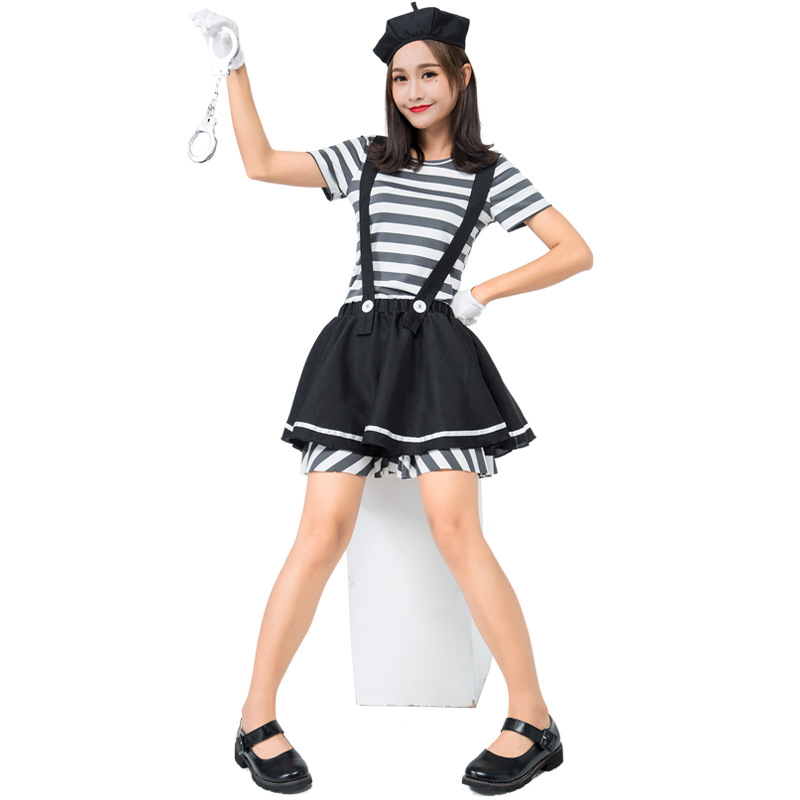 Men/'s French Mime Artist Fancy Dress Costume Street Entertainer Stag Fun Theme