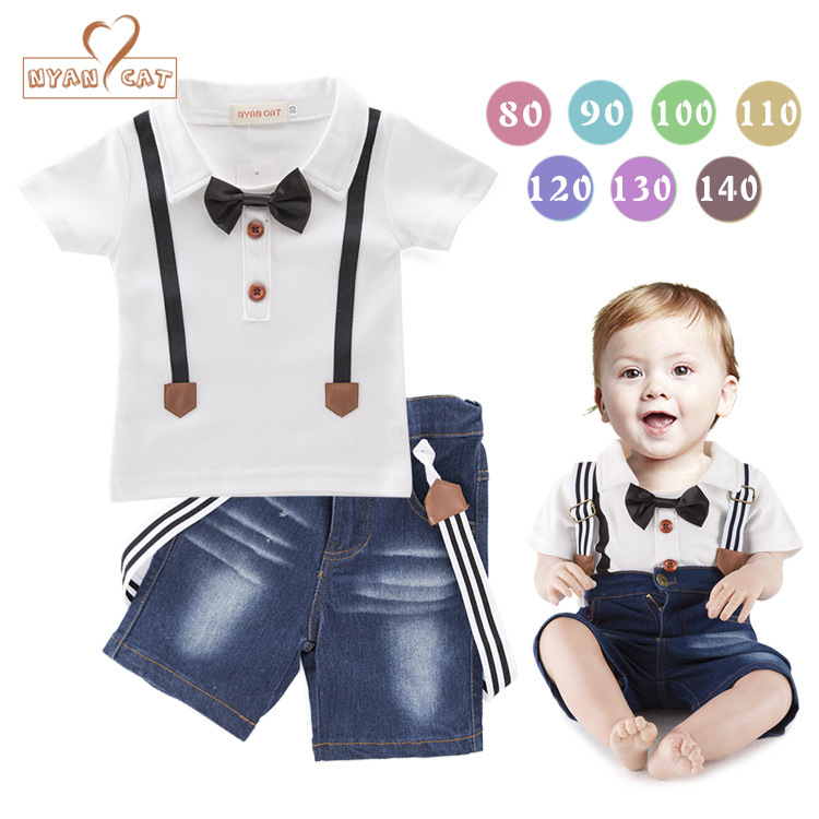NYAN CATKids clothes summer short sleeve  bow tie T-shirt + sling jeans infant boys casual clothing baby kids suits 2pcs outfits