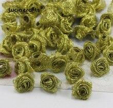 1.5cm Mixed Gold and Silver Rosette Satin Flower Girls Boutique Mini Bow Headwear DIY Garment Craft 50pcs B0105