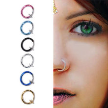 2016 New 2 PCS Clip on Boby Nose Lip Ear Fake Piercing Rings Stud Punk Goth False Hoop Earrings Septum 6 Colors(China)