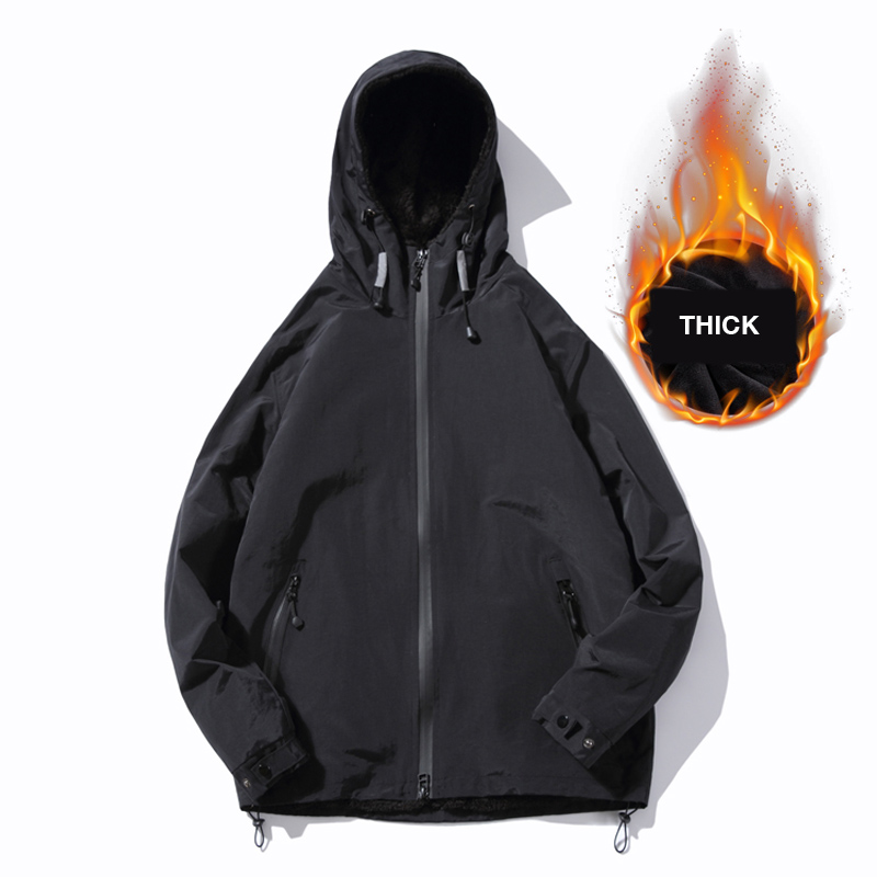 Winter New Simple Design Thick Warm Hooded Jacket Men Black Gray Colors Youth Fashion Loose Windproof Jackets Coats 4XL 5XL - 6