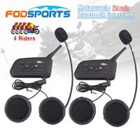 2 Pcs V4 BT Interphone Wireless Motorcycle Helmet Bluetooth Intercom Headset For 4 Riders 1200M FM