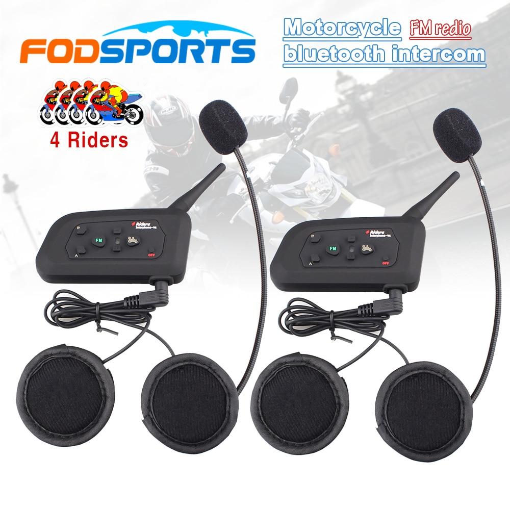 2 Pcs V4 BT Interphone Wireless Motorcycle Helmet Bluetooth Intercom Headset For 4 Riders 1200M FM Radio Stereo Music