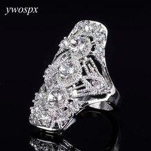 Elegant ladies fashion jewelry openwork design rhinestone ring for women wedding silver color big rings for women gifts sz 6 7 8 стоимость