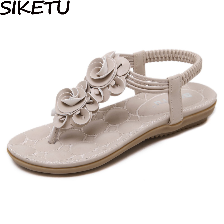 все цены на SIKETU Women Comfortable Bohemia Ethnic Sandals Flat Heel Summer Woman Thong Sandals Flip Flop Comfort Shoes Plus Size 35-41 онлайн