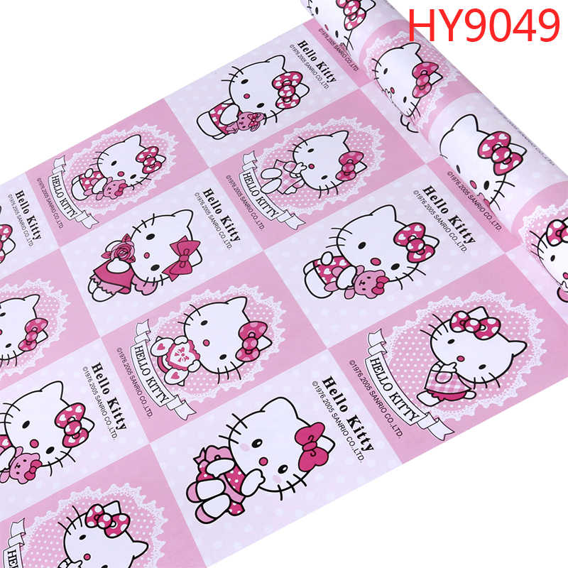 Hello Kitty Pink Blue Wallpaper 3d Lovely Cartoon Cat Children Kid Baby Girl Bed Room Living Room Bedroom Home Decoration