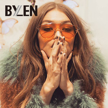 BYLEN Fashion Sunglasses Women Men Flat Top Shades