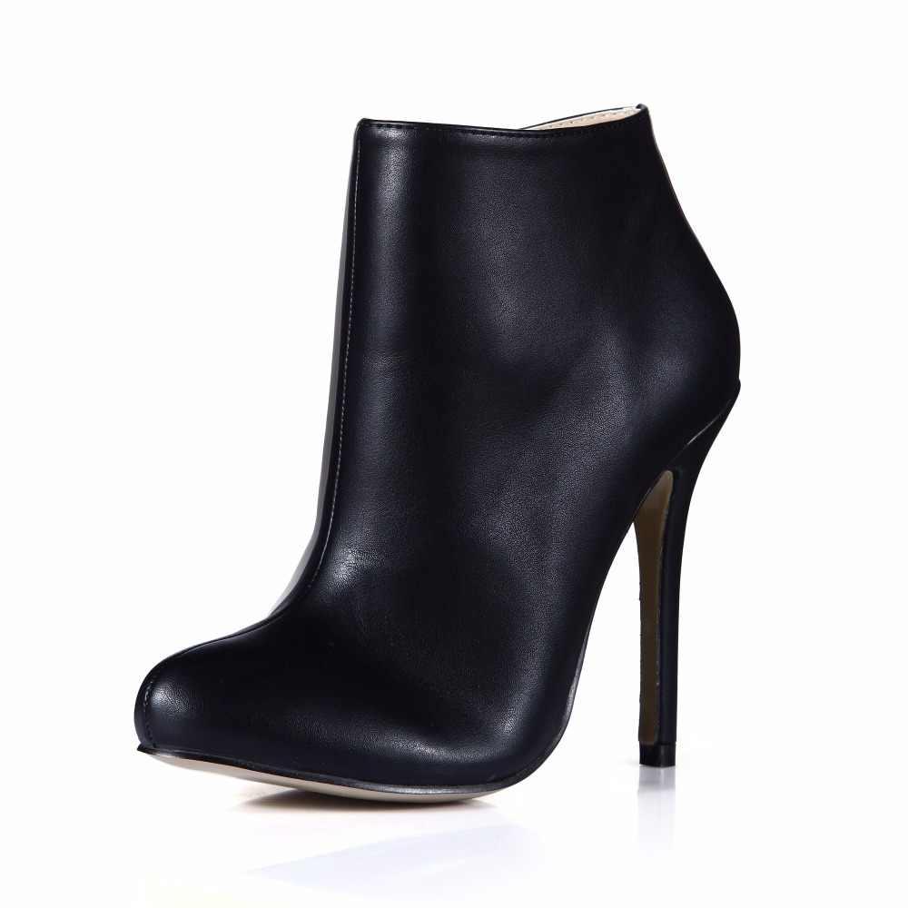 2016 Mùa Đông Màu Đen Sexy Dress Đảng Giày Women Stiletto Gót Cao Công Việc Đơn Giản Phụ Nữ Văn Phòng Mắt Cá Chân Khởi Động Zapatos Mujer 0640CBT-e3