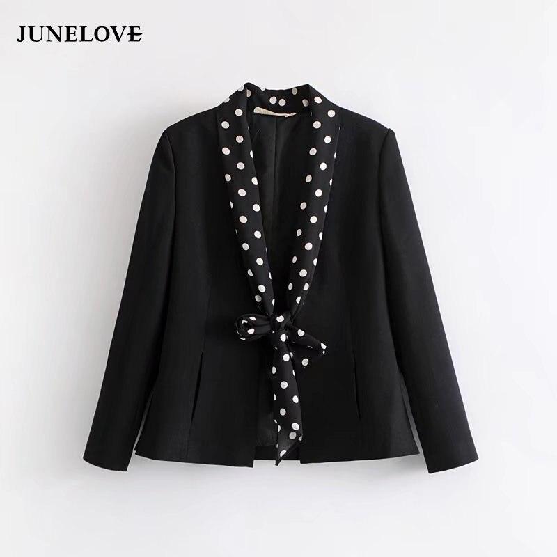 Female Blazer Polka-Dot Black Spring Women Office Basic Bow Notched Ribbons Full Lace-Up