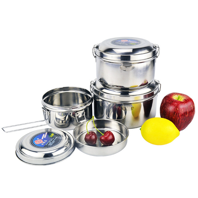 Camping round lunch box outdoor picnic double-layer stainless steel portable pot thickened 1L-1.5L tableware