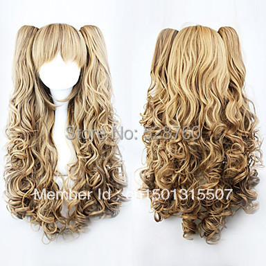 Lolita Curly Wig Inspired by Brown Gradient Cute Double Ponytail 70cm Princess  Free shipping