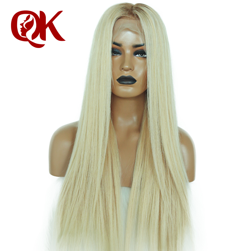 QueenKing hair Full Lace Human hair Wig 150 Density Ombre T6 613 Silky Straight Blonde Hair