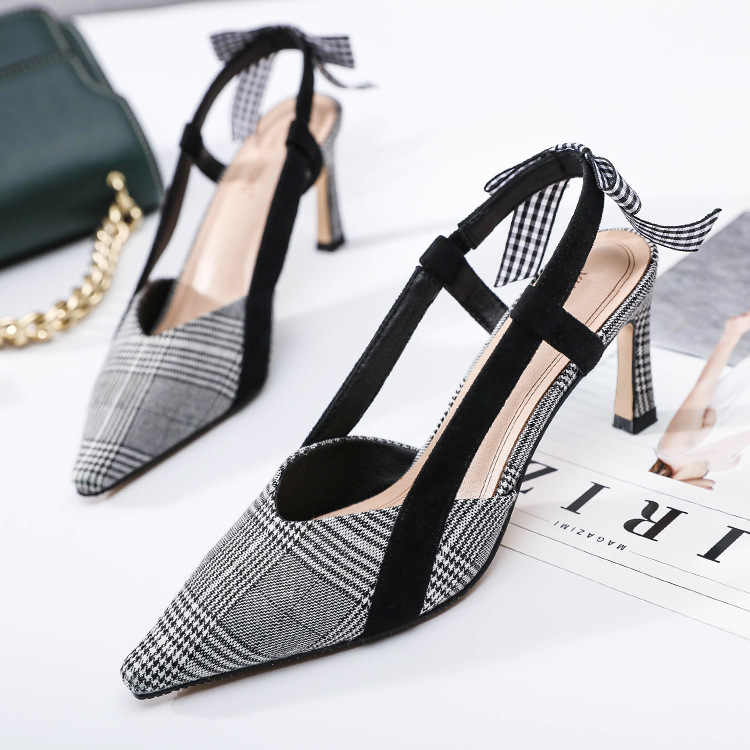 2019 spring new pointed houndstooth fashion high-heeled sandals bow thin women's sandals wild.