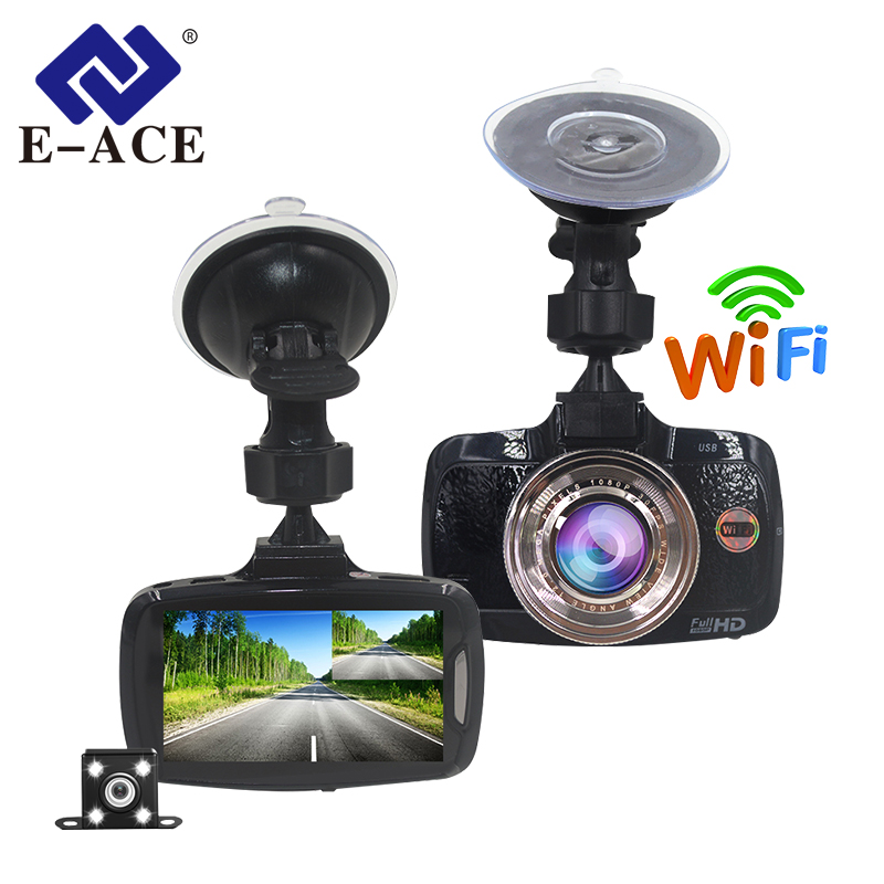 E-ACE Auto Dvr 2.7 pollice Mini Wifi Cam Cruscotto Con Dual Camara Lens FHD 1080 p Video Recorder Monitor di Parcheggio auto Avtoregistrator