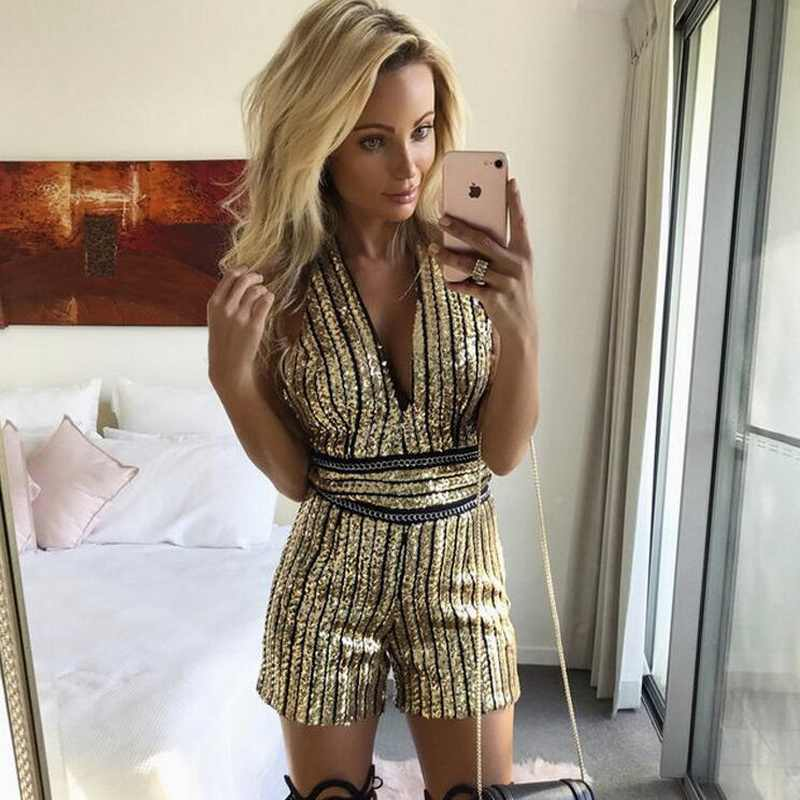 4728babd28 Gold Sequin Jumpsuit Women Sexy Party suit V Neck Backless Women Clubwear Bodysuit  Overalls Macacao Feminino