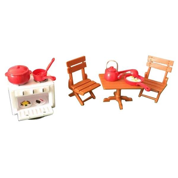 Лидер продаж Куклы дом Кухня комнаты Спальня миниатюрный Мебель комплект Детские подарок ...