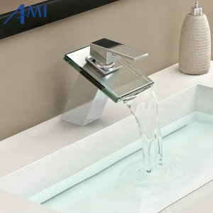 Bathroom sink basin mixer tap chromed brass square glass waterfall Faucet BF036 phasat 4905 modern chromed brass waterfall kitchen sink faucet water tap silver
