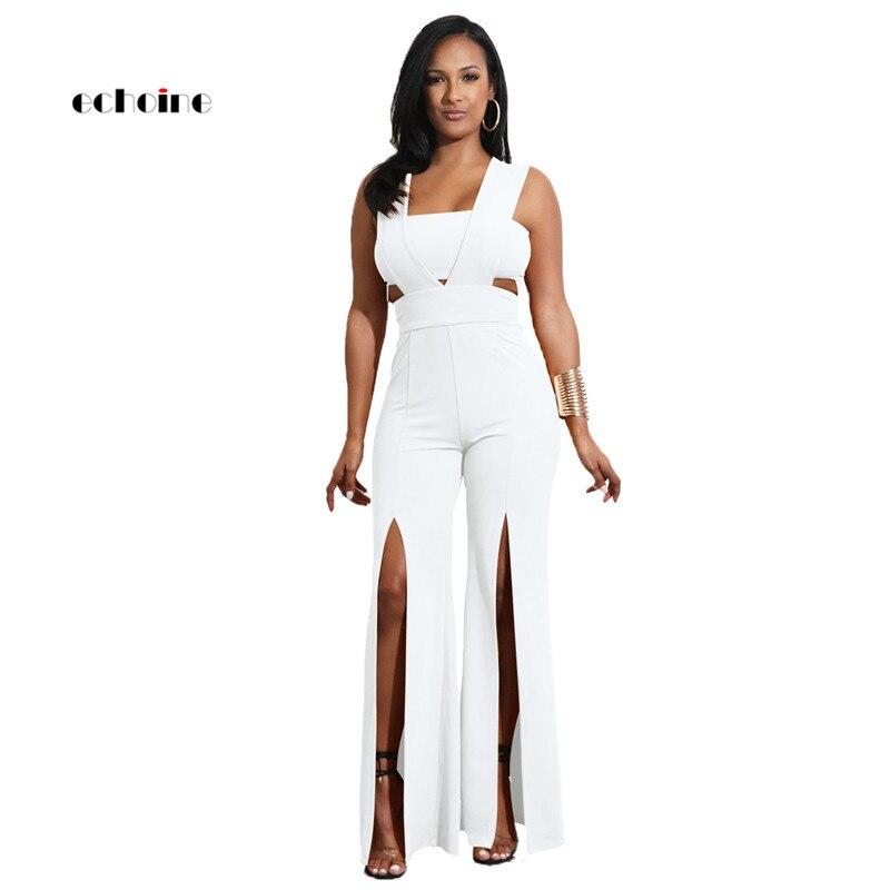 Echoine Women   Jumpsuit   Sexy Strapless Sleeveless Zipper Backless Long Wide Leg Pants High Split Loose Rompers Elegant Outerwear