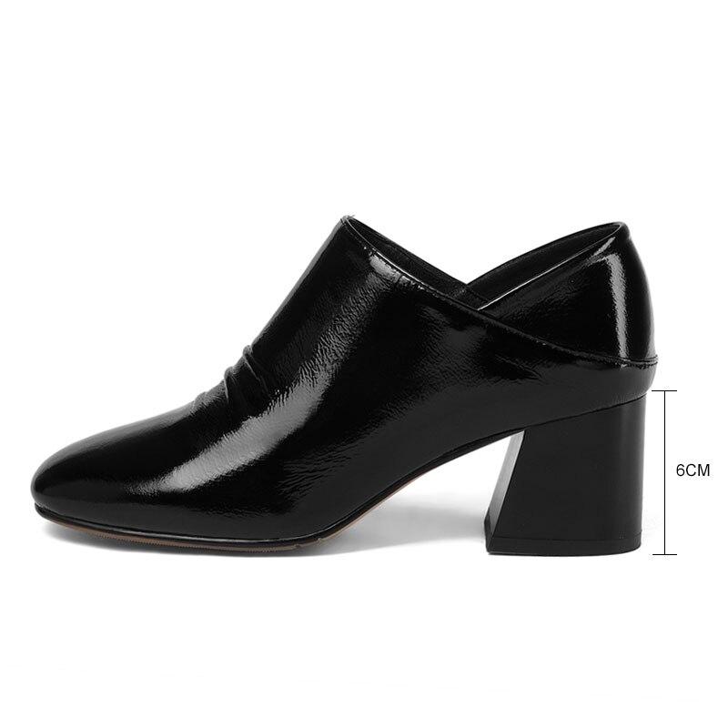 Oficina Cuero brown 32 Tamaño Señora Verdadero Los Simple Dedo Black Cuadrado Alto Club Zapatos De Partido Tacón Talón Fanyuan Las Genuino Grueso 41 Mujeres Bombea Del Pie nxW5F