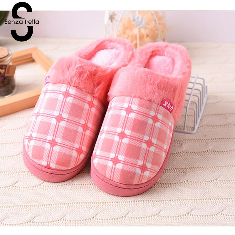 Senza Fretta Woman Slippers Winter Warm Ful Slippers Lovers Women Men Slippers Cotton Soft House Slippers Woman Shoes Wholesale 201818 woman slippers caf