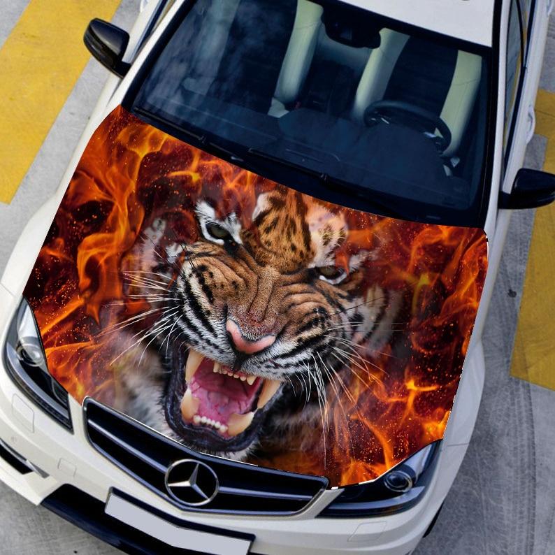 DIY Car styling HD inkjet Ferocious Burning Tigers Hood stickers car Waterproof Protective film Animal decals Paint protection xeltek private seat tqfp64 ta050 b006 burning test