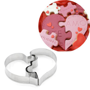2pcs/set Love Puzzle Cookie Cutter 3D Stainless Steel Heart Shape Wedding Cake Decorating Tools DIY Pastry Biscuit Baking Molds(China)