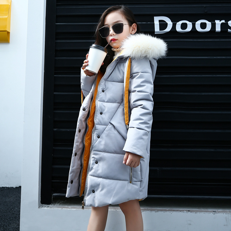 2017 New Big Girls Cotton Down Jacket Coat Cute Hooded Outerwear Fashion Winter Clothes For 5 6 7 8 9 10 11 12 13 14 Years Wear 2017 new fashion girls winter warm coat kids jacket hooded snow wear cotton down outerwear girl solid color winter clothes