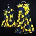 Lemon plisados sin mangas faldas de algodón de estilo americano europeo familia conjunto ropa de la madre y el bebé vestido de los niños vestidos para niñas