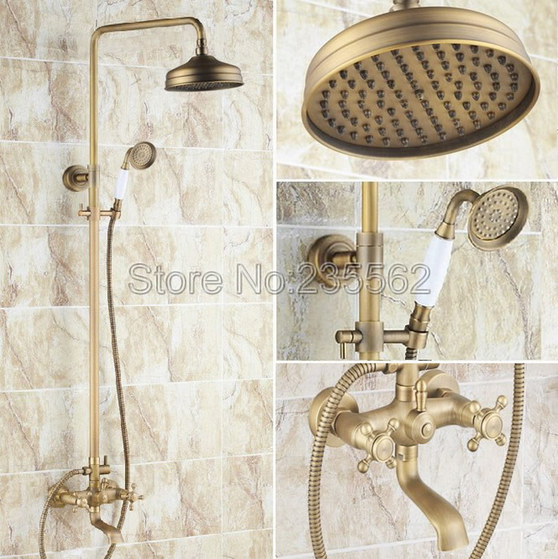 Bathroom 8 Rainfall Shower Head Shower Complete Faucet Antique Brass Bath and Shower Faucet Set with Bath Tub Mixer Taps lrs126