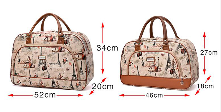 a816c5727933 Women Travel Bags 2018 Fashion Pu Leather Large Capacity Waterproof Print  Luggage Duffle Bag Casual Travel Bags PT1083