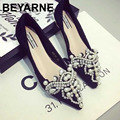 small big size 34-41.42.43 women beautiful pointed toe beading diamond flat shoes fashion lady lace wedding shoes