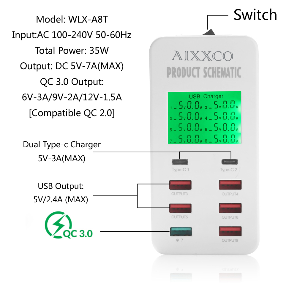 Cargador USB AIXXCO 35W con 2 puertos USB tipo C Estación de carga - Accesorios y repuestos para celulares - foto 3