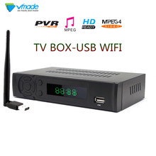 Vmade T2 8939 DVB CAIXA DE TV FULL HD 1080P DVB T Terrestrial Receiver Suporte Lan RJ45 MPEG2/4 H.264 com Dongle WI FI set top box