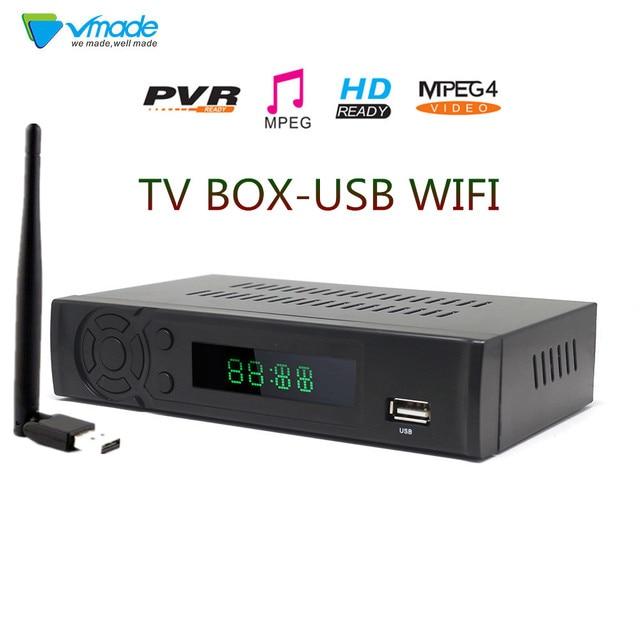 Vmade T2 8939 DVB CAIXA DE TV FULL HD 1080P DVB T Terrestrial Receiver Suporte Lan RJ45 MPEG2/4 H.264 com Dongle WI FI set top box