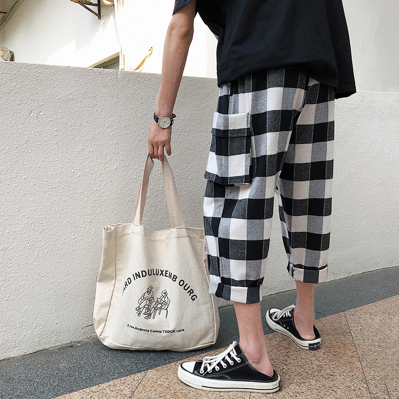 2018 New Fire Lattice Seven Part Haren Pants Male Leisure Time Personality City Boy Trend Exquisite Free Shipping Fashion Black