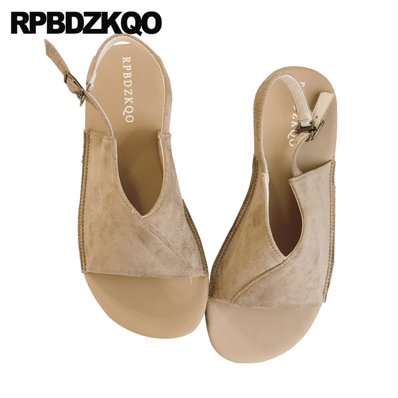 Summer Holiday 2018 Female Strap Nude Slingback Shoes Open Toe Spring Ladies Suede Beach Designer Women Sandals Flat Casual