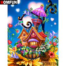 HOMFUN 5D DIY Diamond Painting Full Square/Round Drill Cartoon house Embroidery Cross Stitch gift Home Decor Gift A09194