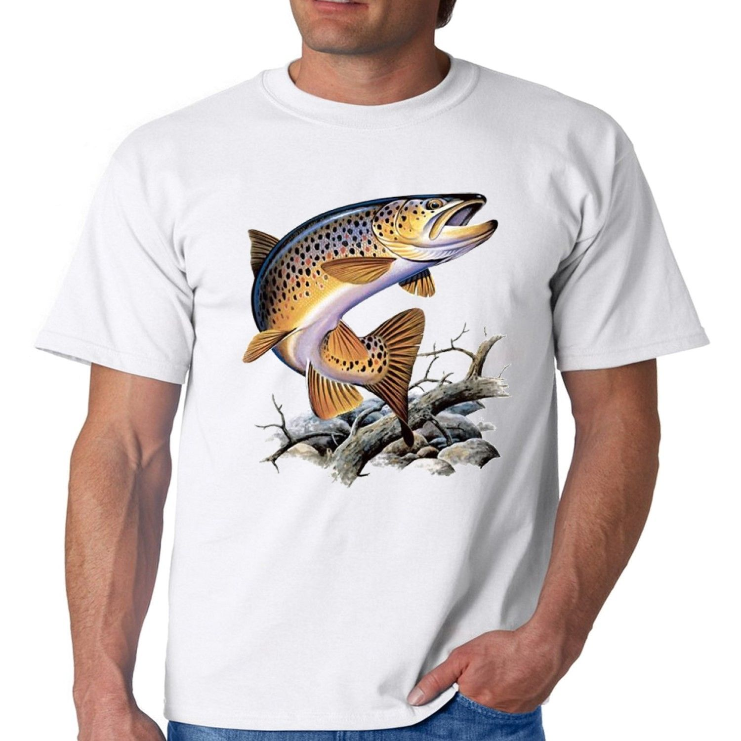 Brown Trout Fishing T-Shirt Cool Casual Pride T Shirt Men Unisex New Fashion Tshirt Free Shipping Tops Ajax 2018 Funny T Shirts