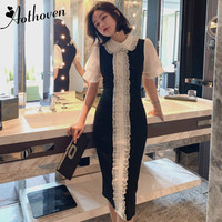Summer Patchwork Bodycon Classy Dress Women Peter Pan Collar Short Sleeve Elegant Dress for Women Sexy Party Office Dresses