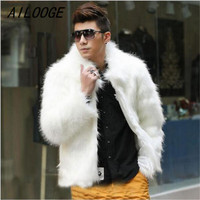 AILOOGE Men New Winter Black Fashion Longhaired Faux Fur Coat Fox Fur Turn down Collar Full Fur Coats Men Fur Jacket