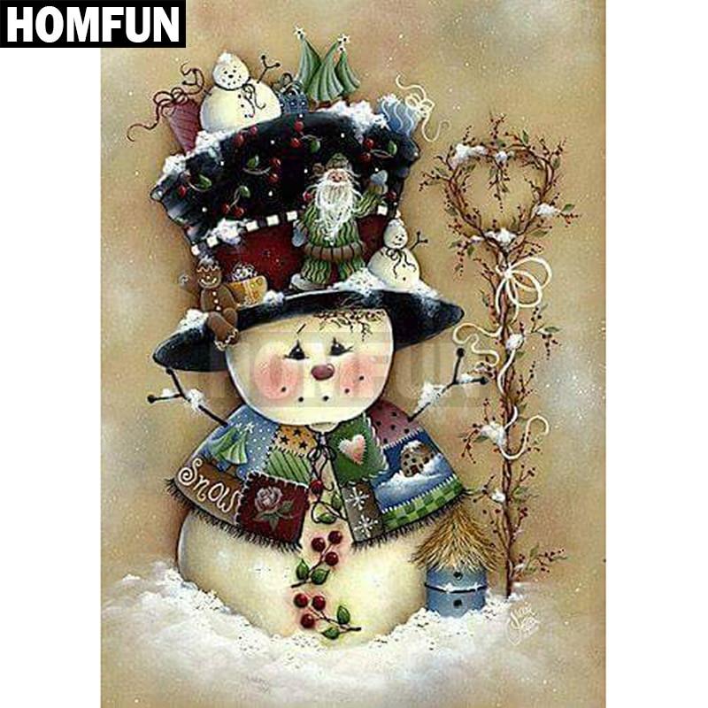 HOMFUN Full Square/Round Drill 5D DIY Diamond Painting snowman Embroidery Cross Stitch 5D Rhinestone Decor A00224HOMFUN Full Square/Round Drill 5D DIY Diamond Painting snowman Embroidery Cross Stitch 5D Rhinestone Decor A00224