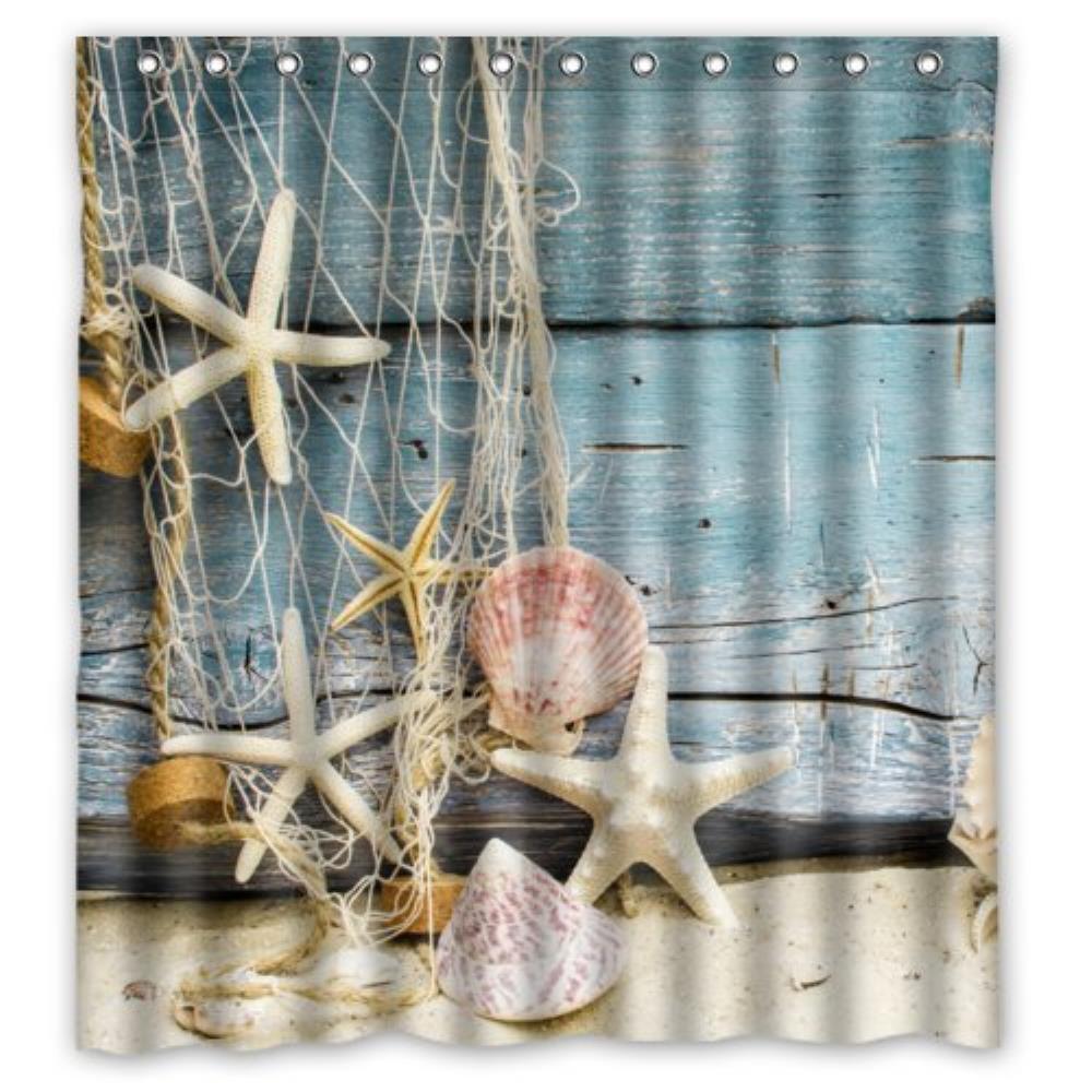 Seashells Starfish Around The Sand Wood custom Shower Curtain Pattern Waterproof Fabric Shower Curtain For Bathroom 66*72inch
